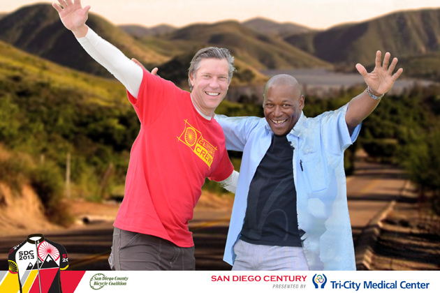 Greg Hendrickson and Olympic silver medalist Nelson Vails at the 2013 edition of the San Diego Century presented by Tri-City Medical Center